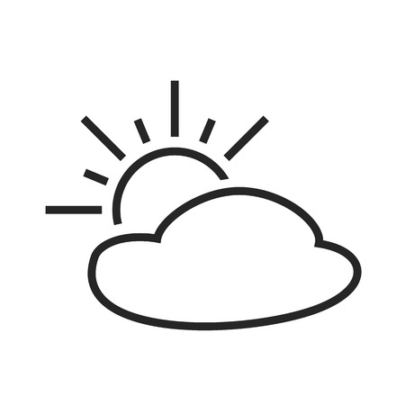 day forecast: Partly cloudy. Sunny intervals. Day. Weather forecast icon. Editable element. Creative item. Flat design graphic. Part of series of various symbols and signs for climate changes diagnostic. Vector Illustration