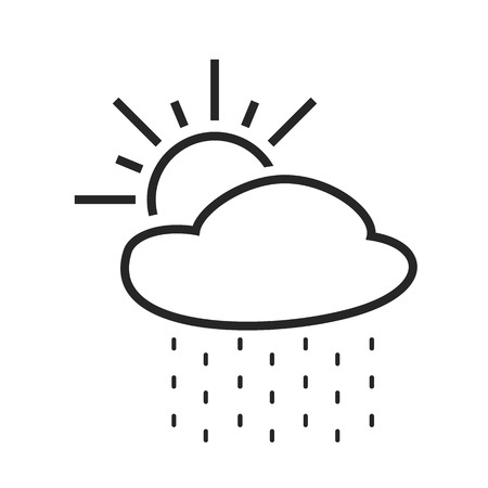 Rain with sun. Light shower. Day. Weather forecast icon. Editable element. Creative item. Flat design graphic. Part of series of various symbols and signs for climate changes diagnostic. Vector Illustration