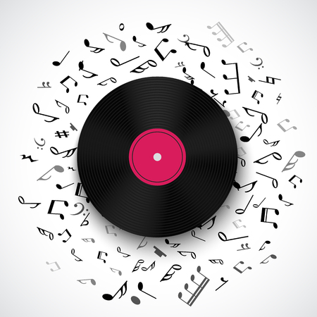 lyric: Abstract musical background with vinyl record album lp disc, black notes isolated on white backdrop. Vector illustration for music flyer poster brochure. Old long play disco plate. Rock sound concept.