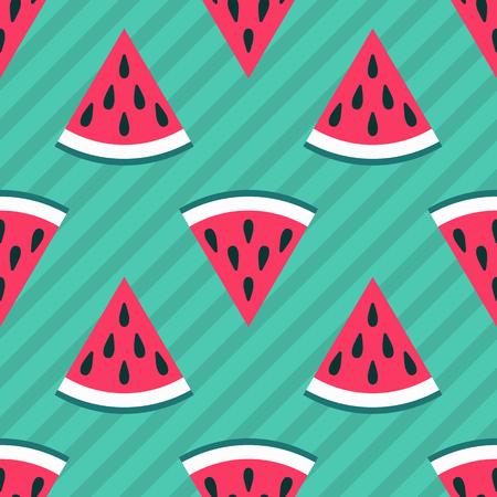 green cute: Cute seamless watermelon pattern on green background. Vector illustration for sweet summer fruit design. Slice fresh food ornament. Pretty repeat wallpaper. Bright tasty cartoon decoration
