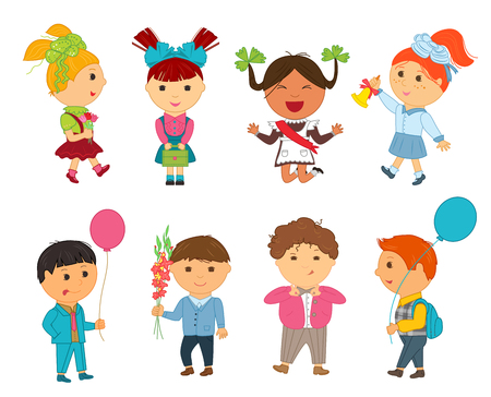 first grader: Cartoon kids back to school. Vector illustration for first september. Education pupil concept. Set of bright flat boy girl child character. Cute student isolated on white background. Backpack, balloon