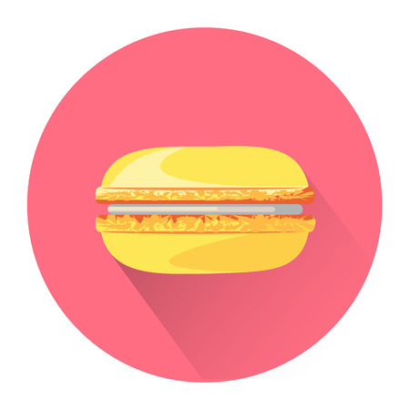 macaroon: Cartoon macaroon icon isolated on white background. Vector illustration for sweet food dessert design.