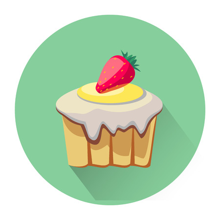 biscuit: Cartoon dessert cake icon isolated on white background. Vector illustration for sweet food dessert design. Biscuit cake cookie symbol. Illustration