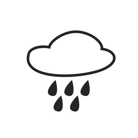 hail: Rain intermittent. Hail. Drizzle shower. Weather forecast icon. Editable element. Creative item. Flat design graphic. Part of series of various symbols and signs for climate changes diagnostic. Vector Illustration