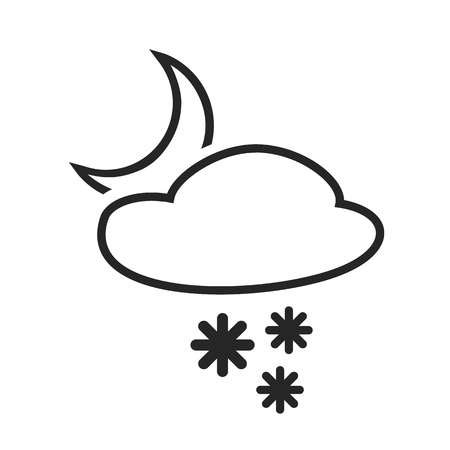 coldly: Sleet shower. Night. Heavy snow in the evening. Weather forecast icon. Editable element. Creative item. Flat design graphic. Part of series of various symbols and signs for climate changes diagnostic. Vector