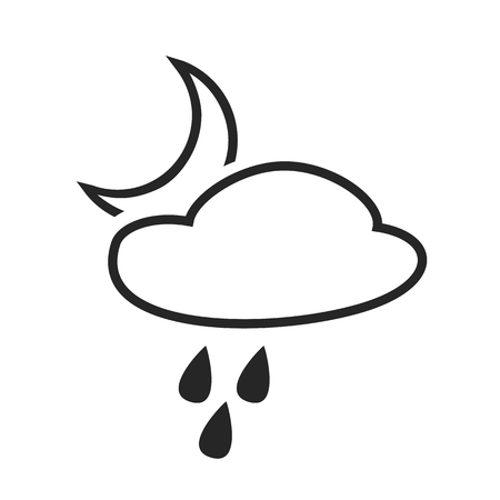 hail: Scatteredor hail shower. Rain at night. Weather forecast icon. Editable element. Creative item. Flat design. Part of series of various symbols and signs for climate changes diagnostic. Vector