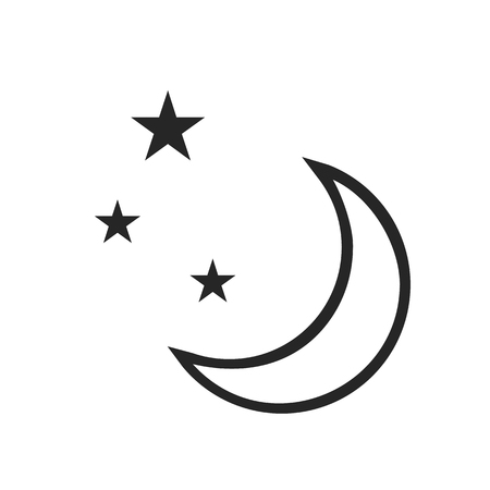 climate changes: Clear night. Weather forecast icon. Editable elements isolated on white. Creative item. Flat design graphic. Part of series of various symbols and signs for climate changes diagnostic. Vector