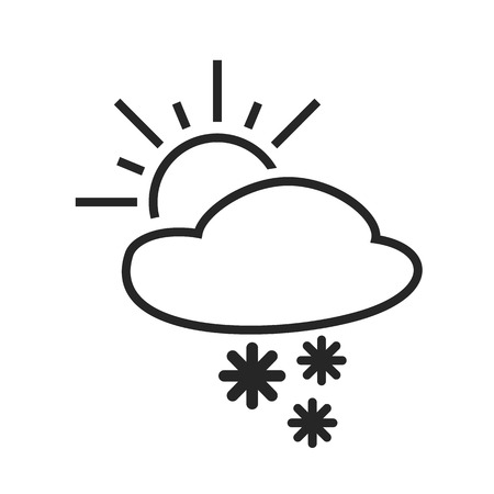 sleet: Heavy snow shower. Sleet day. Weather forecast icon. Editable element. Creative item. Flat design graphic. Part of series of various symbols and signs for climate changes diagnostic. Vector Illustration