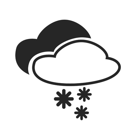 Sever thunder with snow. Heavy sleet shower. Cloudy. Editable elements isolated. Creative item. Flat design graphic. Part of series of various symbols and signs for climate changes diagnostic. Vector
