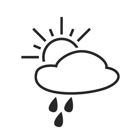 day forecast: Scattered shower. Rain with sun. Day. Weather forecast icon. Editable element. Creative item. Flat design graphic. Part of series of various symbols and signs for climate changes diagnostic. Vector