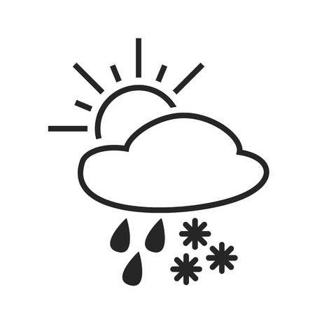 day forecast: Heavy rain with snow. Sleet shower. Day. Weather forecast icon. Editable element. Creative item. Flat design graphic. Part of series of various symbols and signs for climate changes diagnostic. Vector Illustration