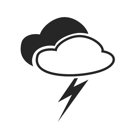 overcast: Scatterd thunderstorm. Weather forecast icon. Editable element isolated on white. Creative item. Flat design graphic. Part of series of various symbols and signs for climate changes diagnostic. Vector Illustration