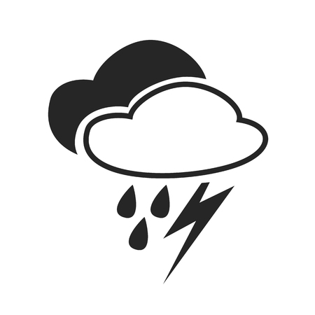 rain weather: Sever thunder shower. Heavy rain. Weather forecast icon. Editable element. Creative item. Flat design graphic. Part of series of various symbols and signs for climate changes diagnostic. Vector Illustration