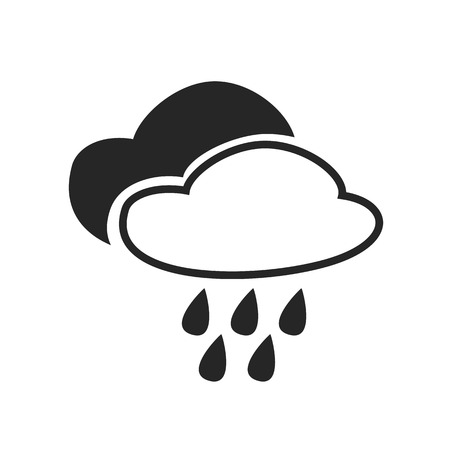 heavy rain: Heavy rain continuous. Mist. Fog. Weather forecast icon. Editable element isolated. Creative item. Flat design graphic. Part of series of various symbols and signs for climate changes diagnostic. Vector