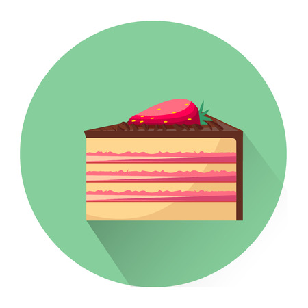 bright cake: Cartoon dessert cake icon isolated on white background. Vector illustration for sweet food dessert design. Biscuit cake cookie symbol. Delicious sign Yellow pink cute color One bright portion