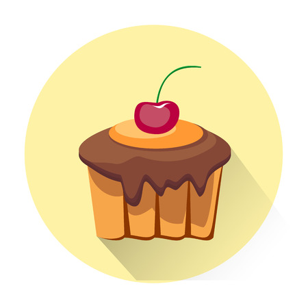 Cartoon dessert cake icon isolated on white background. Vector illustration for sweet food dessert design. Biscuit cake cookie symbol. Delicious  sign Yellow pink cute color One bright portion