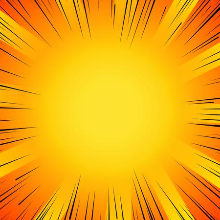 Abstracte strip flash explosie radiale lijnen achtergrond. Vector illustratie voor superhero ontwerp. Heldere zwarte oranje gele lichtstripsuitbarsting. Flash ray blast glow Manga cartoon held strijd print