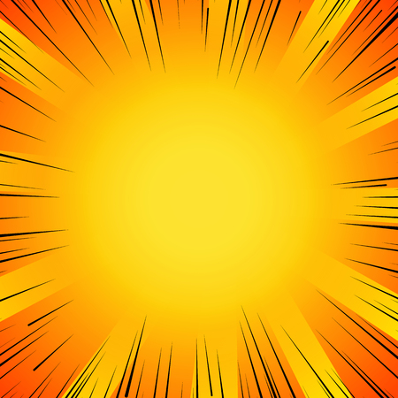 Abstrakt Comic-Flash-Explosion radialen Linien Hintergrund. Vektor-Illustration für Superhelden-Design. Helle schwarz, orange, gelb-Lichtleiste platzen. Flash-ray Explosion glühen Manga Comic-Held Kampf Druck Vektorgrafik