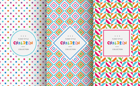 kids background: Bright colorful seamless patterns for baby style. Vector illustration for children background. Funny crazy kids paint. Happy geometry shapes. Set of ornament for gretting card, invitation. Illustration