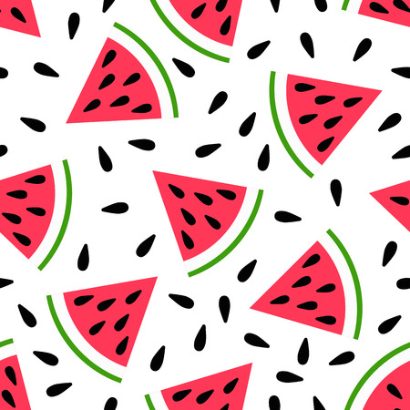 Cute seamless watermelon pattern on white background. Vector illustration for sweet summer fruit design. Slice fresh food ornament. Pretty repeat wallpaper. Bright tasty cartoon decoration