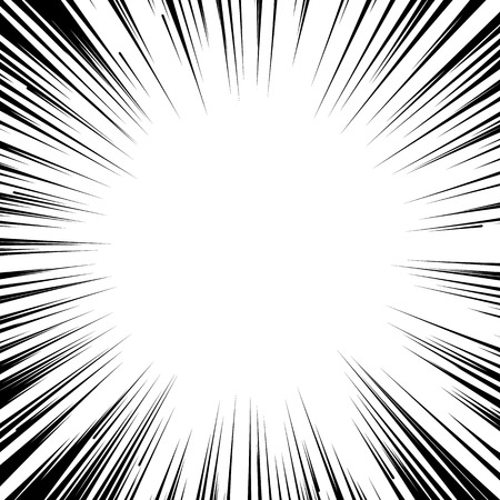 strip design: Abstract comic book flash explosion radial lines background. Vector illustration for superhero design. Bright black white light strip burst. Flash ray blast glow. Manga cartoon hero fight print stamp