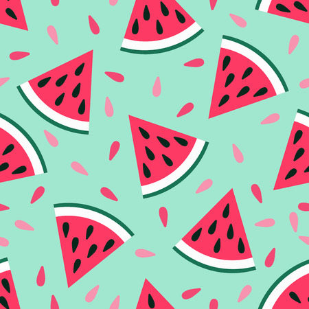 Cute seamless watermelon pattern on blue background. Vector illustration for sweet summer fruit design. Slice fresh food ornament. Pretty repeat wallpaper. Bright tasty cartoon decoration Ilustração