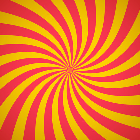 converging: Swirling radial pattern background. Vector illustration for summer circus design. Vortex starburst spiral twirl square. Helix rotation rays. Converging yellow red stripes. Fun sun light beams.