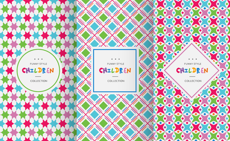 pattern geometric: Bright colorful seamless patterns for baby style. Vector illustration for children background. Funny crazy kids paint. Happy geometry shapes. Set of ornament for greeting card, invitation.