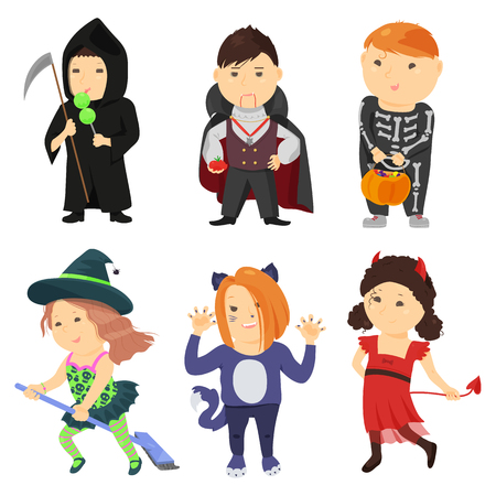 child boy: Cute cartoon kids in halloween costumes isolated on white background. Vector illustration for holiday design. Funny girl boy child. Character october party. Witch vampire skeleton cat devil death icon