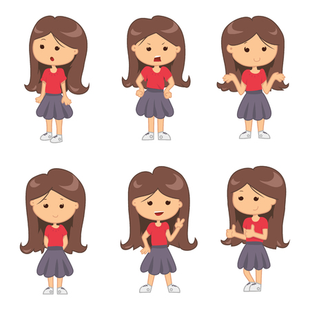 female girl: Set of full length portraits of cute girl isolated on white background. Vector illustration for emotion design. Group of pretty women. Expression female mood collection. Cartoon comic young teen kids Illustration