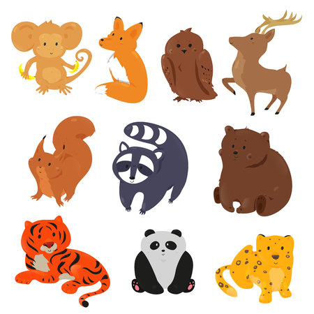 squirrel monkey: Set of cute cartoon animals. Funny forest wild zoo. Vector illustration for fauna characters. Bright icon isolated on white background. Deer, fox, bear, owl, squirrel, raccoon, monkey, tiger, panda Illustration