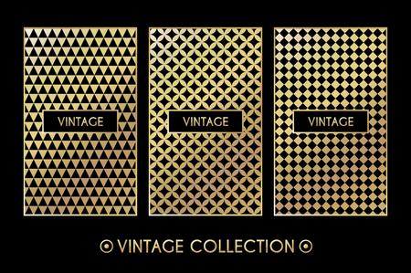 decorative pattern: Golden vintage pattern on black background. Vector illustration for retro design. Gold abstract frame. Stylish decorative label set. Art decoration texture Linear elegant luxury foil Victorian fashion