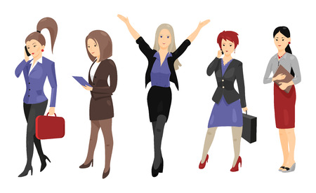 full length portrait: Set of full length portraits of business people isolated on white background. Vector illustration for formal design. Group of cute women girl. Success collection. Businesswoman. Boss teacher student Illustration