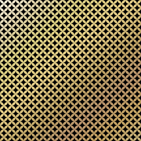 box design: Golden vintage pattern on black background. Vector illustration for retro design. Gold abstract wallpaper. Elegant luxury seamless foil Illustration