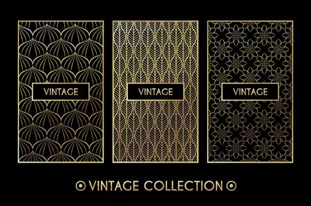 Golden vintage pattern on black background. Vector illustration for retro design. Gold abstract frame. Label set. Elegant luxury foil
