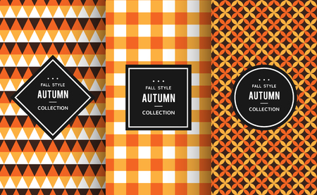 Herfst naadloze patronen. Vector illustratie voor de herfst decoratie. Oranje, wit, zwart kleuren. Set van geometrische textiel textuur achtergrond. Bright halloween dankzegging framelabel uitnodiging papier