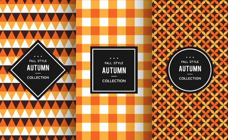 patrones de costura otoño. Ilustración del vector para la decoración de otoño. Naranja, blanco, colores negros. Conjunto de fondo geométrico de la textura de la materia textil. papel de la invitación de acción de gracias etiqueta de fotograma brillante de Halloween