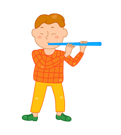 play school: Cartoon musician kid. Vector illustration for children music. Boy isolated on white background. Cute school musical student clip art. Flutist with flute instrument