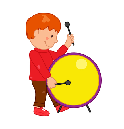 children art: Cartoon musician kid. Vector illustration for children music. Boy isolated on white background. Cute school musical student clip art. Drummer with drum instrument Illustration
