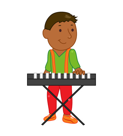 Cartoon musician kid. Vector illustration for children music. Boy isolated on white background. Cute school musical student clip art. Pianist with piano synth