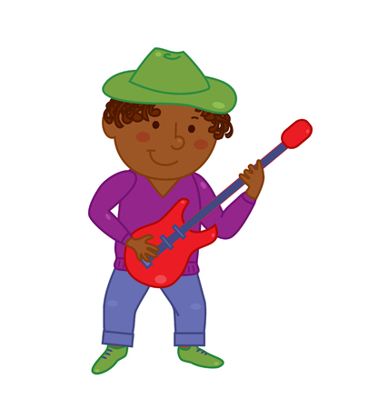 electric guitar: Cartoon musician kid. Vector illustration for children music. Boy isolated on white background. Cute school musical student clip art.