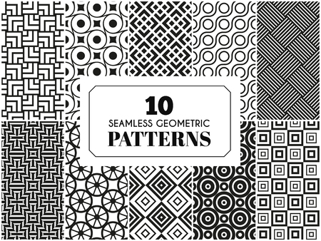 label frame: 10 seamless patterns. Vector illustration for fashion decoration. White black colors. Set of geometric textile texture background. Bright frame label invitation paper Illustration
