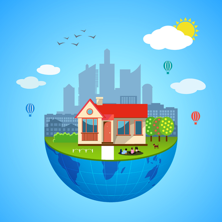 urban district: Urban home earth concept. Vector illustration for global design. Flat cartoon style. City building planet. Skyscraper world on blue sky background Real estate city infrastructure Modern district scene