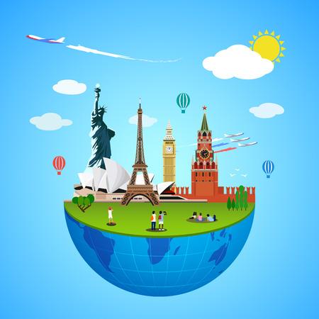 Weltmarkenkonzept. Vektorillustration für Reisedesign. Berühmte Land-Symbol-Symbol. Tourismusstadtplatz-Kulturarchitektur. USA, Russland, London, Paris, Australien. Cartoon Reise Tour Denkmal.