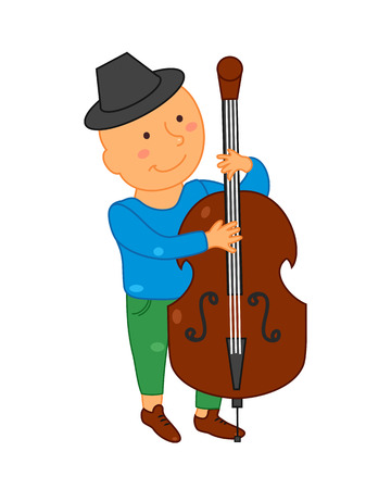 cellist: Cartoon musician kid. Vector illustration for children music. Boy. Cute school musical student clip art. Cellist with cello instrument