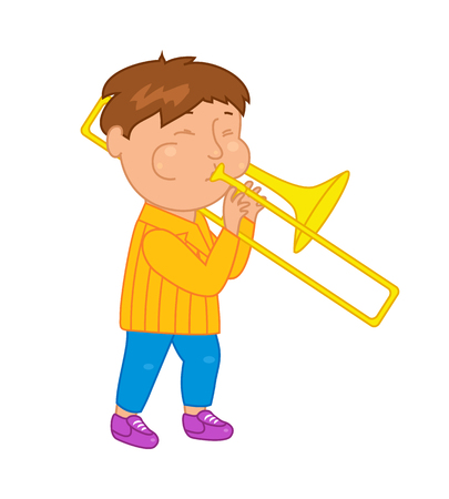 Cartoon musician kid. Vector illustration for children music. Cute school musical student clip art. Trumpeter with trumpet instrument Illustration