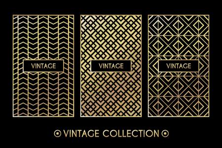 Golden vintage pattern. Vector illustration for retro design. Gold abstract frame. Label set. Elegant luxury foil