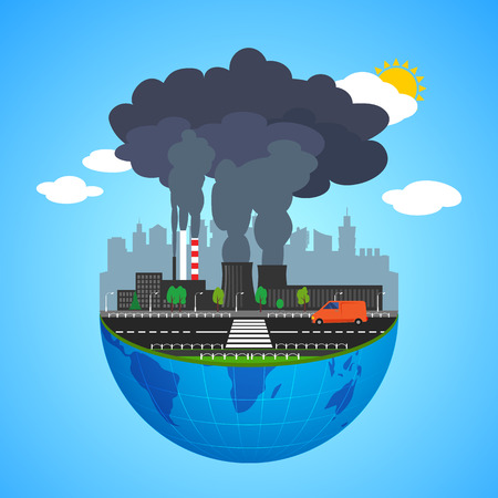 industrial industry: Industry earth concept. Vector illustration for global industrial. Flat cartoon. City building planet. World factory on blue sky. Plant isolated. Smoke, smog production. Pollution manufacturing sign.