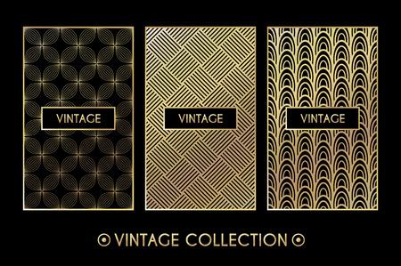 Gouden vintage patroon op zwarte achtergrond. Vector illustratie voor retro ontwerp. Gouden abstracte frame. Etiket set. Elegante luxe folie Tribal etnische
