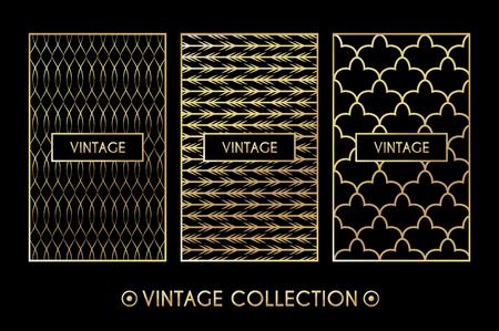 box design: Golden vintage pattern on black background. Vector illustration for retro design. Gold abstract frame. Label set. Elegant luxury foil Tribal ethnic